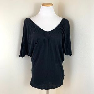 Express Black Dolman Sleeve Short Sleeve Blouse